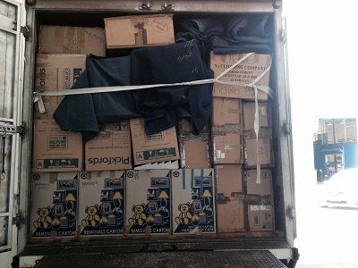 Removalist truck packed.